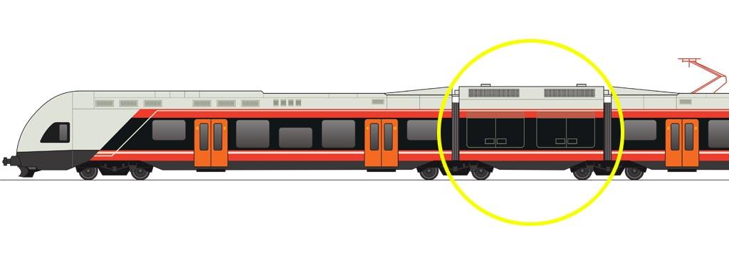 POWER-PACK: Den lille mellomvogna kan utstyres på flere måter for å levere strøm til togets elektriske motorer, med drivstoff som diesel, gass, hydrogen eller batterier. Fleksibiliteten gjør at moderne teknologi kan tas i bruk så snart den er velprøvd og pålitelig nok.