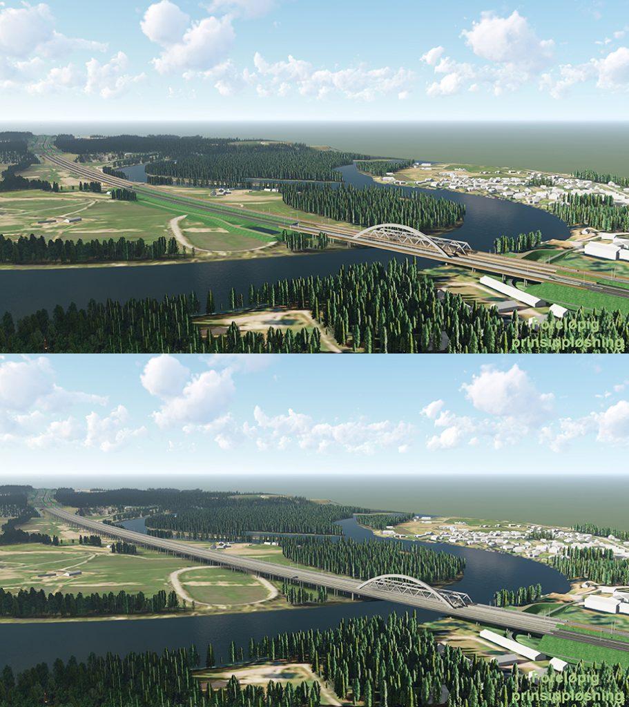 EN LANG BRU ELLER TO BRUER MED FYLLING?: Ringeriksbanen skal krysse Storelva og Mælingen-området på Ringerike. Prosjektet vurderer nå om det er best med en lang bru. Prosjektet gjennomfører omfattende grunnundersøkelser for både pæling og eventuell fylling.